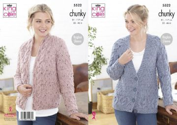 King Cole Ladies Cardigans Chunky Knitting Pattern , 5522